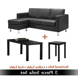 Sofa Sets For Living Room Set Bundle Black Leather Couch Tab