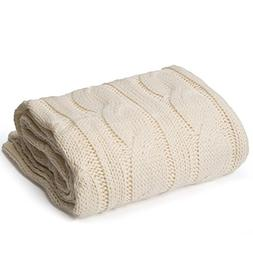 """battilo Soft Knitted Dual Cable Throw Blanket, 50"""" W x 60"""" L"""