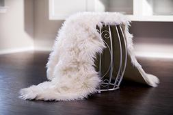 Chanasya Super Soft Faux Fur Fake Sheepskin White Sofa Couch