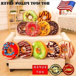 Soft Plush Pillow Seat Pad Sweet Donut Foods Cushion Case Co