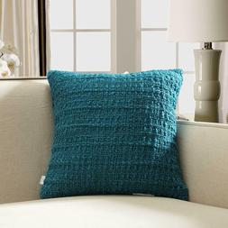 Soft Warm Cable Knit Throw Pillow with Down Feather Insert