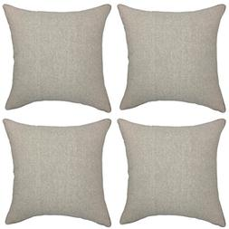 YOUR SMILE Solid Color Beige Jean Decorative Throw Pillow Ca
