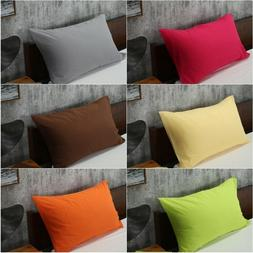 Solid Color Cotton Bed Pillowcases Bedding Pillow Case Cover