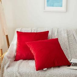 Acanva Solid Velvet Soft Decorative Throw Pillow 18 x 18 Red
