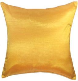 Artiwa Solid Yellow Gold Silk Sofa Decorative Throw Pillow S