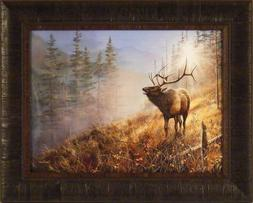 Song In The Mist by Jim Hansel 17x21 Bull Elk Framed Art Pri