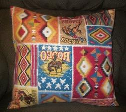 "Southwest Rodeo Cowboy Patchwork Indian Horse 16"" Throw pill"