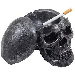 Spooky Human Skull Ashtray with Cover for Scary Halloween De