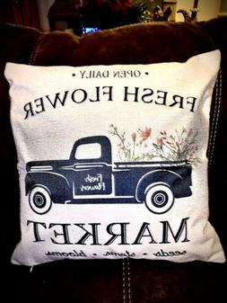 Spring Flower Floral Pick Up Truck Throw pillow Cover Farmho