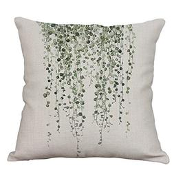 YeeJu Green Plant Decorative Throw Pillow Covers Cotton Line