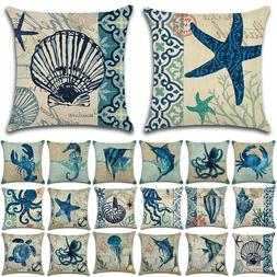 square sea animals pillow cover linen cushion