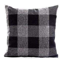 Famibay Square Tartan Cotton Linen Throw Pillow Case Cushion