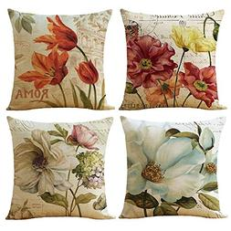 WOMHOPE 4 Pcs Vintage Flower Style Throw Pillow Covers Cases