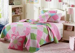 Stitching Polka Dot Floral Patchwork Bed spread Quilts Set f