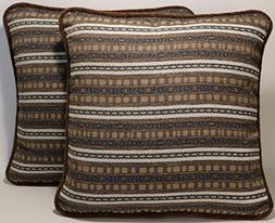 "Stripe Decorative Throw Pillows A set of 2 18"" Brown Tan Cre"