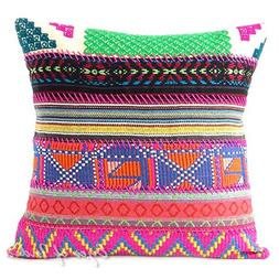 """Eyes of India 16"""" Pink Stripe Dhurrie Colorful Patchwork Thr"""