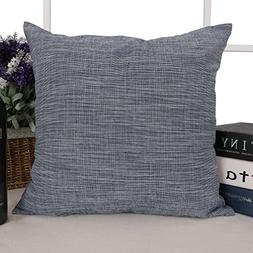 Deconovo Stripe Pattern Cotton Linen Pillow Case Woven Throw
