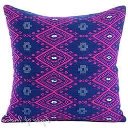 """Eyes of India 16"""" Pink Blue Purple Large Striped Dhurrie Col"""