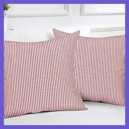 striped throw pillow covers woven decorat red
