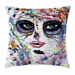 sugar skull throw pillow case creepy makeup