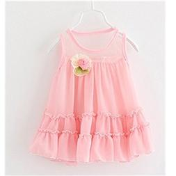 KAKA Summer Lovely Baby Girls Pink Chiffon Lace Floral Dress