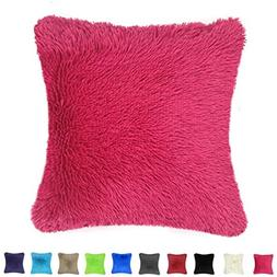 Throw it Super Silky Soft Faux Fur Square Shaggy Throw Pillo