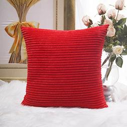 HOME BRILLIANT Decoration Solid Red Soft Striped Velvet Cord