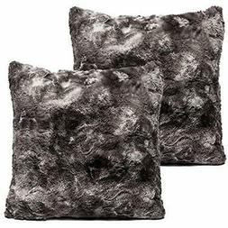 Super Throw Pillow Covers Soft Fuzzy Faux Fur Cozy Warm Fluf