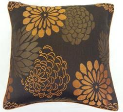 """SUPERB BURNT ORANGE BROWN EMBROIDERED 18"""" CUSHION COVER PILL"""