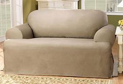 Sure Fit Cotton Duck One Piece T-Cushion Loveseat Slipcover,