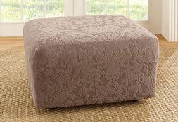 Sure Fit Stretch Jacquard Damask Ottoman Cover, Mushroom