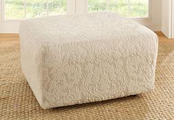Sure Fit Stretch Jacquard Damask Ottoman Cover, Ivory/Oyster