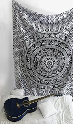 SheetKart Tapestry Wall Hangings Black and White Hippie Mand