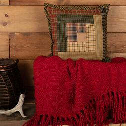 Tea Cabin Throw Pillow 12x12 Decorative Quilted Rustic Patch