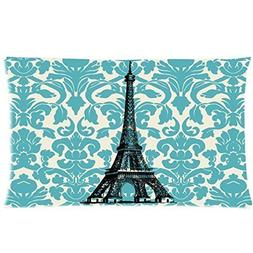 Teal Turquoise Damask Vintage French Floral Swirls With Pari