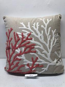 Threshhold Decorative Throw Pillow Tan With Orange And White