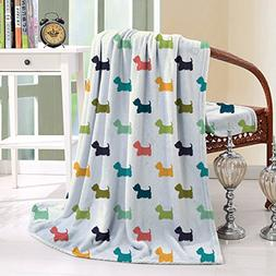 HAIXIA Throw Blanket Dog Lover Polka Dotted Animal Silhouett