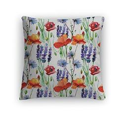 Gear New Throw Pillow, 26x26, Pattern With Wild Flowers