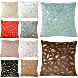 Throw Pillow Case Fur with Printing Leaves Couch Bed Square
