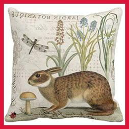 Throw Pillow Cover Botanical Modern Vintage French Rabbit In