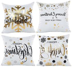 Coolrunner 4 Pcs Christmas Pillow Covers, Gold Stamping Prin