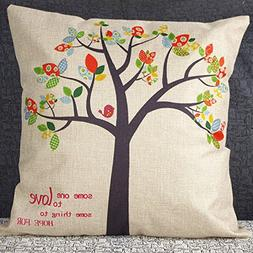 "Throw Pillow Cover Case, 18""x 18"" Cotton Linen Square Decora"