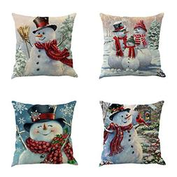 XIECCX Throw Pillow Cover 18 x 18 Inches Set of 4 - Christma