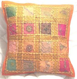 Throw Pillow Cover Embroidered Patchwork w/Orange Trim Cushi