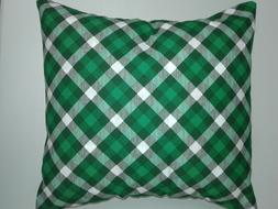 Throw Pillow Cover, Green Tarleton Plaid, Hand Made By Linda