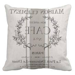 Emvency Throw Pillow Cover Modern Vintage French Cafe Decora