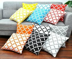 Throw Pillow Cover  Cotton Printed Trellis Decorative Cushio