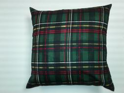 Throw Pillow Cover, Tartan Plaid, Green, Red, Gold, Hand Mad