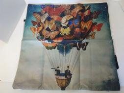 Throw Pillow Cover~Unique Hot Air Butterfly Balloon~Cotton L