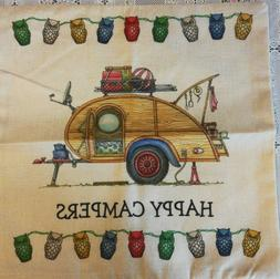 "Throw Pillow Cover Vintage TEAR DROP Camper 17"" x 17 Camping"